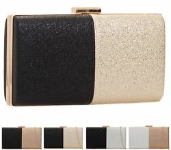 LADIES WOMENS TWO TONE SHIMMER BRIDAL SMALL HARDCASE EVENING DRESSY CLUTCH BAG