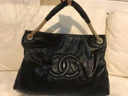 Auth Chanel Rodeo Drive  Grand Shopping Vinyl Black Bag Gold Chain NWT New