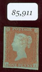 Sg 8 1d Red Brown On Blued Paper Wmk Small Crown Lettered A.1 Plate 95. Fine..