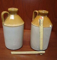 2 Antique Ca1850 Uruguay South America Colonial Stoneware Large Beer Bottle