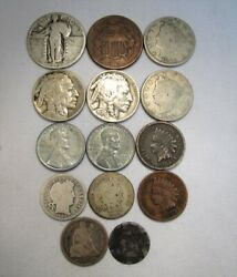 Vintage Us Coin Lot 14pc Indian Steel Liberty Buffalo Silver Barber Stand C683