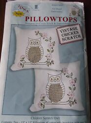 STAMPED FOR CROSS STITCH HAND EMBROIDERY PILLOWTOPS VINTAGE CHICKEN SCRATCH OWL