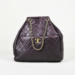Chanel $3600 Dark Purple Quilted Lambskin Leather Gold Tone Bucket Bag