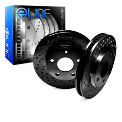 BLACK EDITION ELINE[FRONT] CROSS DRILLED PERFORMANCE BRAKE ROTORS DISC C1846