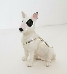 KINGSPOINT SPUNKY BULL TERRIER DOG PEWTER BEJEWELED HINGED TRINKET