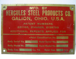 Hercules Steel Products - Brass Hoist Product Data Plate - Galion Ohio - New