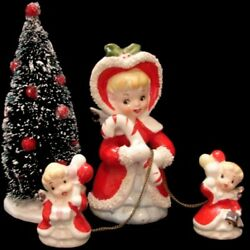 Vintage Tilso Angel Mom And Baby W Candy Cane And Bottle Brush Christmas Tree