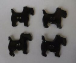 4 Black Vintage Ceramic Scottie Dog - Scottish Terrier - Buttons