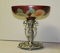 Antique Napoli Mount Washington Brides Basket On Pairpoint Silver Plated Stand
