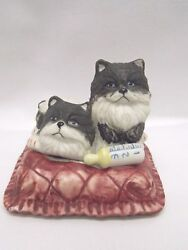 Two Black & White Longhaired Cats on a Pillow wBaby Bottle Figurine 3 x 3 12In
