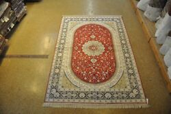 Silk Red Navy Blue Kitchen Rugs Classic Handmade Area Rug 6 X 9