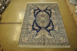 Blue Eco-friendly Rug 6' X 9' Silk Aubusson Silk Carpets Hand-knotted