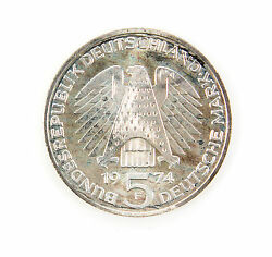 Germany 5 Mark Silver 1974 F Proof Constitution Law