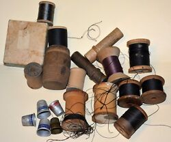 Lot Vintage Buttons Thimbles Wood Wooden Spools Needle Holder Sewing
