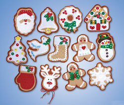 Felt Embroidery Kit Design Works 13 Gingerbread Men Christmas Ornaments #DW5393