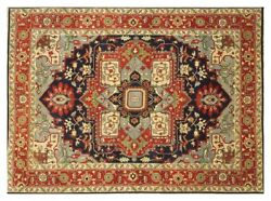 9' X 12' Soft Pile Oriental Style Hand-knotted Navy Blue Area Rug