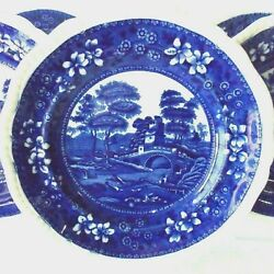 Six Antique Spode Blue Tower 9 1/4lunch Plates Gadrooned Edge Blue And White
