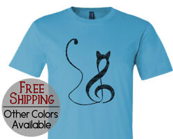 Musical Cat Note Graphic Short Sleeve Pet Lover Gift Printed T Shirt Tee Shirt