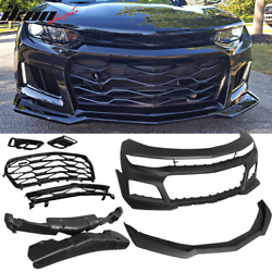 Fits 16-18 Chevrolet Camaro Zl1 Style Front Bumper Conversion Lip And Grille - Pp