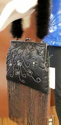 Mitchie's Black Beaded Purse Evening Bag with Mink Fur Strap