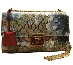 Brand New Gucci Bag. Gucci Padlocked Blue Flowers Cloth And Leather Handbag.