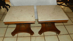 Pair Mid Century Mahogany Marble Top Pier Tables / End Tables By Lane T688