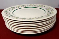 Royal Doulton Almond Willow Spring Leaves 10 1/4 Dinner Plates Lot Of 9