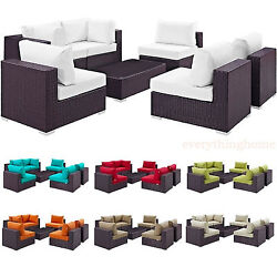7-piece Outdoor Rattan Convertible Sectional Sofa Loveseat Chairs Coffee Table