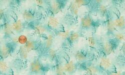 Sale - 3+yd Shadowy And039natureand039s Brillianceand039 Aqua Leaves Quilt Fabric - Kaufman