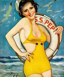 French Pinups Pep Stories - Brunette Sailor Girl In Swimsuit - Bergey - 1935