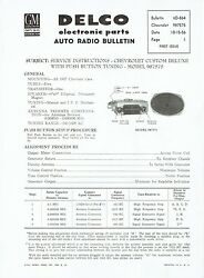 Gm Delco 1957 Chevy Deluxe Push Button Radio 987575 Service And Parts Bulletin