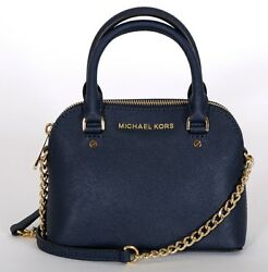 MICHAEL KORS Navy Leather Cindy Mini Crossbody HANDBAG New