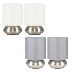 Pair Of Metal Table Lamps Brushed Chrome Touch Dimmer Bedside/lounge Table Lamps