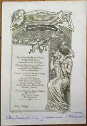 Menu Art Nouveau French 1901 Woman/baby/champagne Artist-signed Photographic