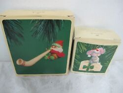 VINTAGE HALLMARK ORNAMENTS (2) TREE TRIMMERS MOUSE ON CHEESE ALPINE ELF 80'S
