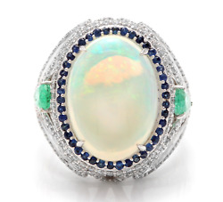 8.00ct Natural Opal Sapphire Emerald And Diamond 14k Solid White Gold Ring