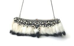 Badly Mischka Black and White Mink and Beaded Evening Bag