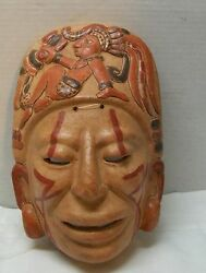 Face Mask Carved Woman on Top Clay Pottery Tribal Markings Vintage