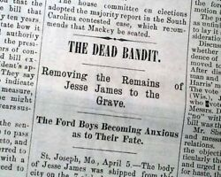 Outlaw Jesse James Killed By Robert Ford Brothers 1882 Memphis Tn Newspaper
