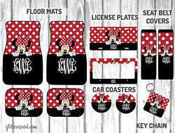 Personalized Disney Car Mat Gift Set | Black And Red Peeking Minnie Mouse Car Mat