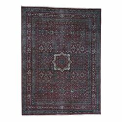 9and039x12and039 Vintage Look Mamluk Distressed Zero Pile Shaved Low Worn Wool Rug R40620