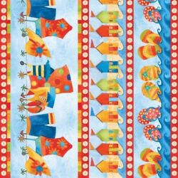 Shore Thing Quilt Fabric Border Stripe Style 9020 70 Blue Multi
