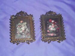 Pr Vtg Ornate Metal Wall Victorian Floral Bouquets Pictures Made In Italy