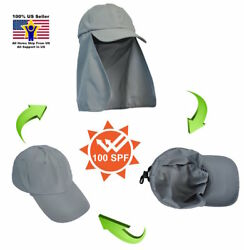 Baseball Cap Sun Flap Trucker Hat with Neck Cover Curved Cotton Solid Hiking $14.95