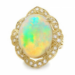 14.65Ct Natural Ethiopian Opal and Diamond 14K Solid Yellow Gold Ring