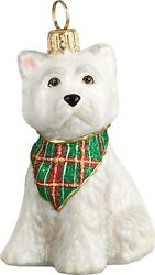 West Highland Terrier Westie Puppy with Tartan Bandana Polish Glass Ornament New