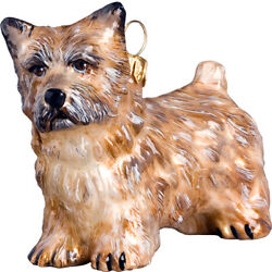 Cairn Terrier Cream Color Polish Glass Christmas Ornament Dog Decoration