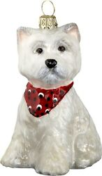West Highland Terrier Westie Puppy Bandana Dog Polish Glass Christmas Ornament