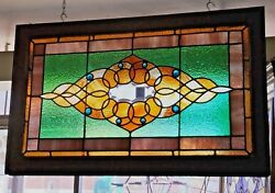 Antique Stained Leaded Beveled Glass Window 8 Faceted Jewels 40.5 W X 25.5 H