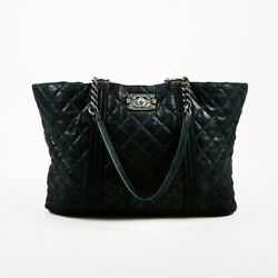 Chanel Black Quilted Iridescent Goatskin Large Gentle Boy Shopping Tote Bag